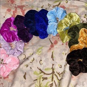 11 Assorted Velvet Scrunchies
